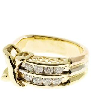 14K Tri Color Gold and 0.40ct Diamond 3 Band Ring Size 3.25