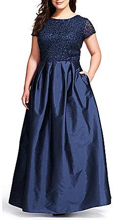 Adrianna PapellAdrianna Papell Plus Sequin Short Sleeve Taffeta Ball Gown