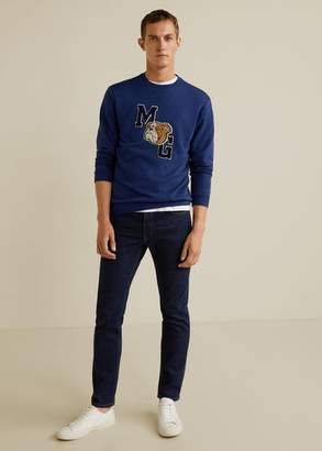 MANGO MAN - Embroidered college plush sweatshirt blue - XS - Men