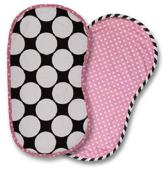 Bacati 2-Piece Dots/Pin Stripes with Pink Pin Dots Burpies Set