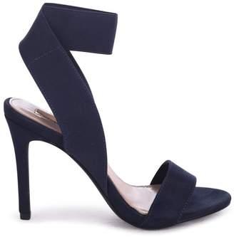 Linzi Crystal Navy Suede Stiletto Heel With Elasticated Upper