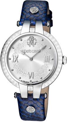 Roberto Cavalli 40mm Logo Watch w/ Leather Strap, Steel/Blue