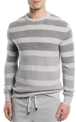 Loro Piana Wool/Silk Striped Crewneck Sweater