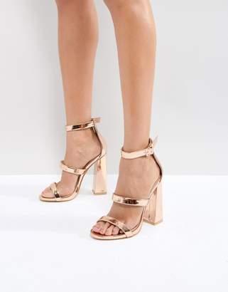 Public Desire Rose Gold Oyster Triple Strap Block Heeled Sandals