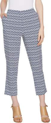 Dennis Basso Printed Stretch Cotton Sateen Cropped Pants