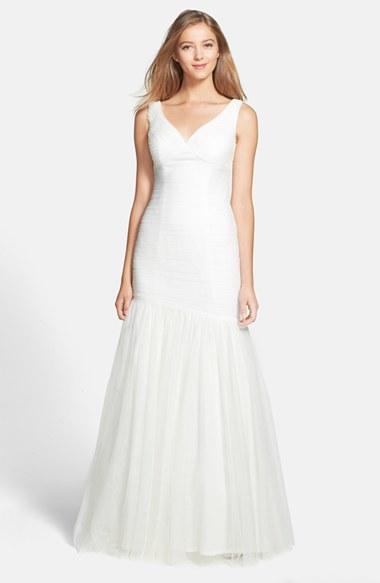 Monique Lhuillier Bridesmaids Tulle Trumpet Dress