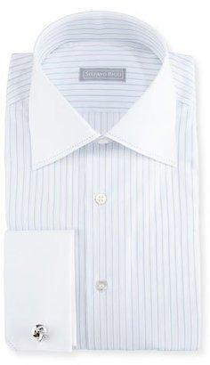Stefano Ricci Striped Stitch-Trim Dress Shirt $750 thestylecure.com