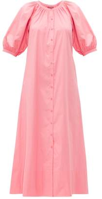 STAUD Vincent Cotton Poplin Midi Shirtdress - Womens - Light Pink