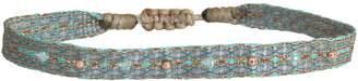 LeJu London Aquamarine Handwoven Bracelet With Gold Details