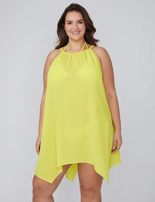 Crinkle Fabric High-Neck Cover-up
