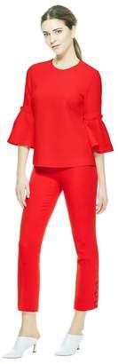 Lela Rose Wool Crepe Button Sleeve Tunic Top