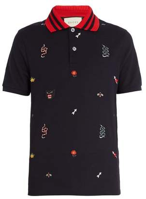 Gucci Embroidered Stretch Cotton Blend Pique Polo Shirt - Mens - Navy