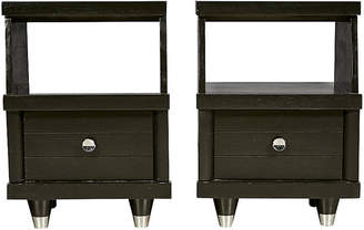 One Kings Lane Vintage 1960s Black Lacquered Nightstands - Set of 2 - 2-b-Modern
