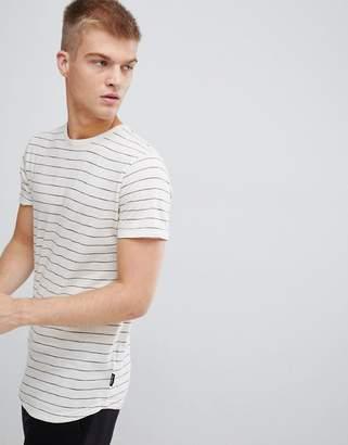 D-Struct Striped Curved Hem Long Line Slub Jersey T-Shirt