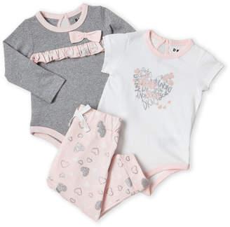 DKNY Newborn Girls) 3-Piece Hearts Bodysuit & Pants Set