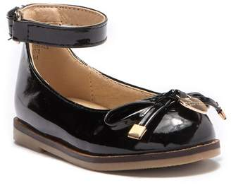 Nicole Miller Black Patent Bow Flat With Charm (Toddler)