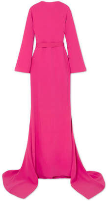 Brandon Maxwell Open-back Draped Crepe Gown