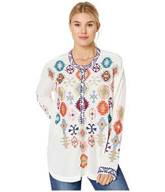 Johnny Was Biya by Women's Geometric Embroidered Rayon Long Sleeved Blouse