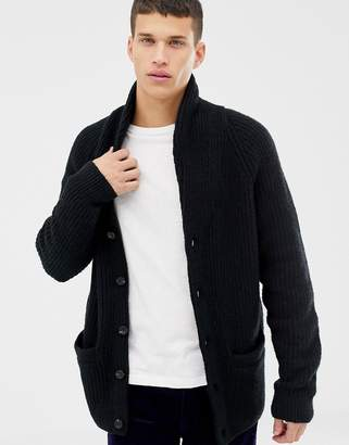 Abercrombie & Fitch shawl collar knit cardigan in black
