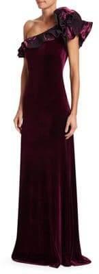 Teri Jon by Rickie Freeman Ruffle One-Shoulder Velvet Gown