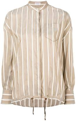 Brunello Cucinelli striped drawstring hem shirt