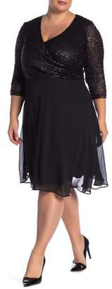 Marina Sequin Bodice Dress (Plus Size)