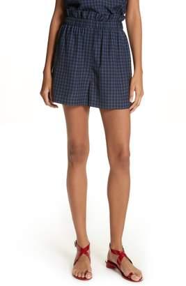 Tibi Gingham Paperbag Waist Shorts