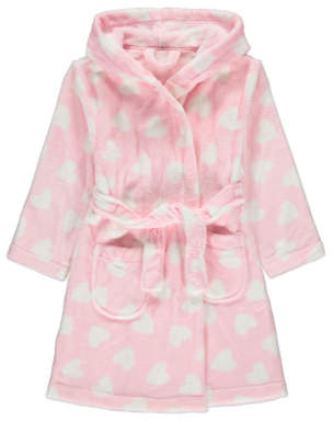 George Baby Pink Heart Print Dressing Gown