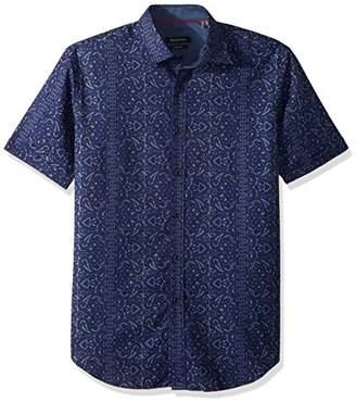 Bugatchi Men's Shaped Fit Chambray Short Sleeve Shirt