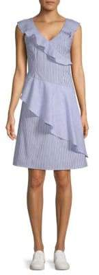 Collective Concepts Striped Asymmetrical Ruffle Dress
