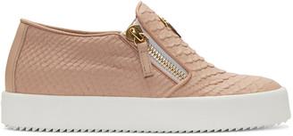 Giuseppe Zanotti Pink Snake-Embossed London Slip-On Sneakers $675 thestylecure.com