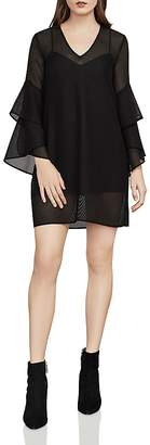 BCBGMAXAZRIA Natalea Bell Sleeve Mesh Dress