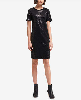 DKNY Sequined T-Shirt Dress