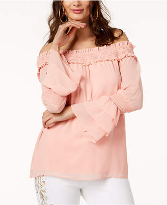 Thalia Sodi Off-The-Shoulder Tiered-Sleeve Top, Created for Macy's