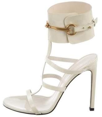 Gucci Patent Leather Horsebit Sandals