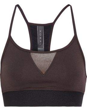 Koral Trifecta Versatility Paneled Coated Stretch-Jersey Sports Bra