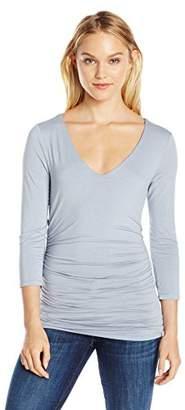 Three Dots Women's 3/4 SLV V-Neck Shirred Top