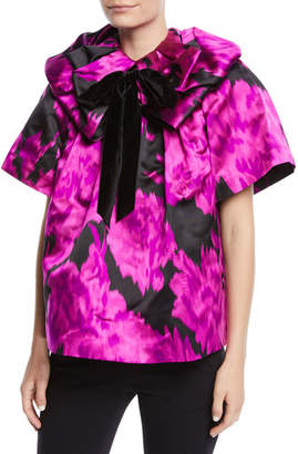Marc Jacobs Rosette-Collar Velvet-Bow Carnation-Print Silk Blouse