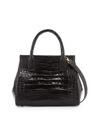 Nancy Gonzalez Loop Crocodile Small Satchel Bag, Black Shiny