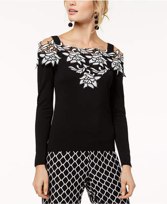 INC International Concepts I.n.c. Petite Lace-Trim Cold-Shoulder Sweater, Created for Macy's