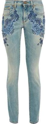 Roberto Cavalli Embroidered Distressed Mid-Rise Skinny Jeans