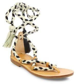 Soludos Cotton Lace-Up Flat Sandals $99 thestylecure.com