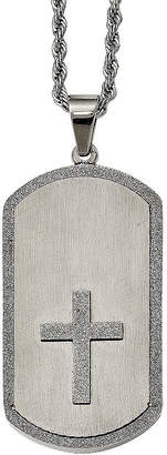 FINE JEWELRY Mens Stainless Steel Cross Dog Tag Pendant