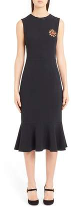 Dolce & Gabbana Sacred Heart Embellished Flare Hem Sheath Dress