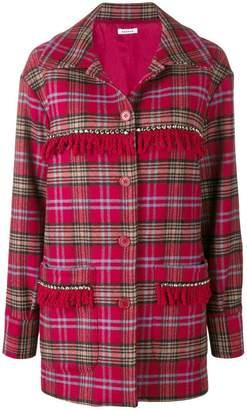 P.A.R.O.S.H. fringed tartan coat