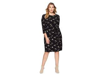 Lauren Ralph Lauren Plus Size Flutter Floral Amadora 3/4 Sleeve Day Dress