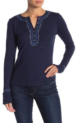 Lucky Brand Embroidered Long Sleeve Henley