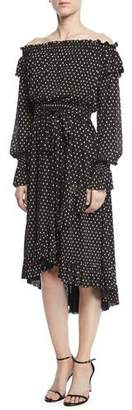 Shoshanna Medley Off-the-Shoulder Ruffle Dot Dress