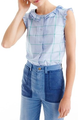 Women's J.crew Windowpane Pleat Ruffle Top $88 thestylecure.com