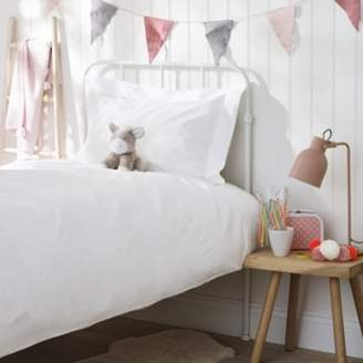 The White Company Embroidered Heart Bed Linen Set, White/Pink, Single